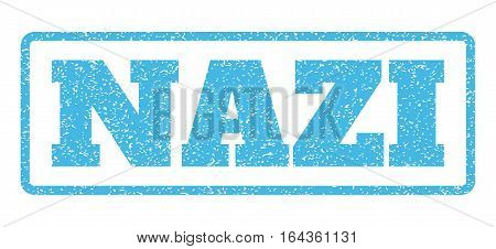 Light Blue rubber seal stamp with Nazi text. Vector message inside rounded rectangular shape. Grunge design and dirty texture for watermark labels. Horisontal sticker on a white background.