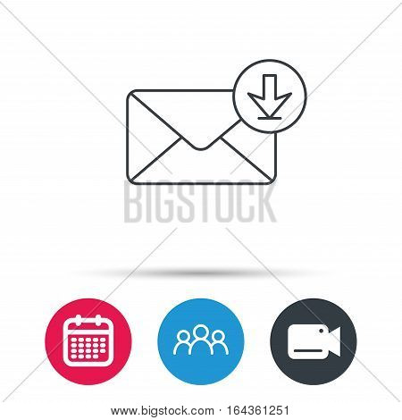 Mail inbox icon. Email message sign. Download arrow symbol. Group of people, video cam and calendar icons. Vector