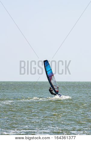Windsurfing in the sea with a moderate wind