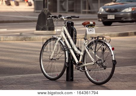 Boston, Massachusetts, USA - Jul. 26, 2009: Bicycle waiting for next rider in the public bike sharing system in Boston, tond shot