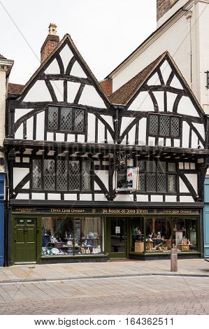 Salisbury Wilshire United Kingdom - June 18 2006: Ye House of John A'Port is a medieval half-timbering house. Originally built around 1425 and restored in 1930 this building was formerly an inn known as the Three Lyons Chequer. The then owner John A'Port