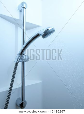 Shower with running water (color toned image)