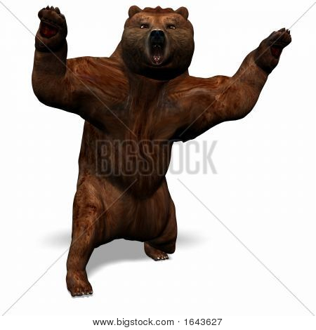 The big brown bear turns around to you and attacks the observer poster
