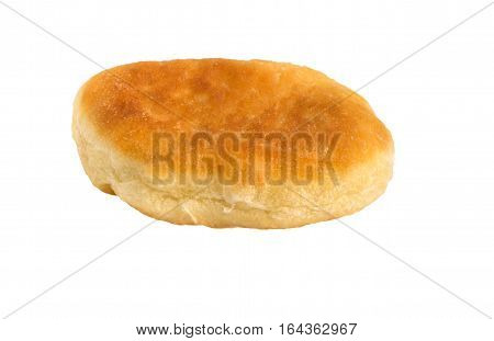 traditional Russian patty with eggs and onion. Pirojki. Pie isolated on white