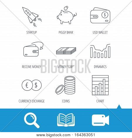 Piggy bank, cash money and startup rocket icons. Wallet, currency exchange and dollar usd linear signs. Chart, coins and dynamics icons. Video cam, book and magnifier search icons. Vector