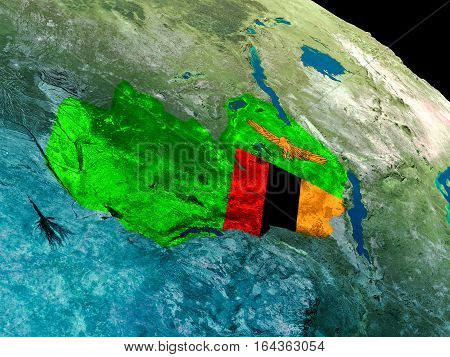 Flag Of Zambia From Space