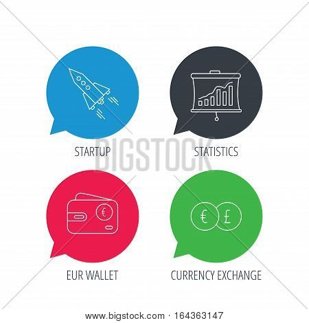 Colored speech bubbles. Currency exchange, cash money and startup icons. Wallet, statistics linear signs. Flat web buttons with linear icons. Vector
