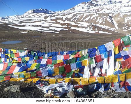 Colourful prayer flags in Leh, Ladakh, India