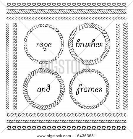 Set of round vector frames from marine rope isolated on white background. Collection of thick and thin brushes to design frames and borders simulating a braided rope. The brush included in the file