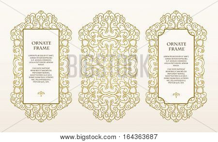 Vector set frames  for design template.  Golden floral borders. Ornate decor  for save the date, birthday, greeting card, wedding invitation, leaflet, poster, certificate, thank you message.