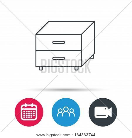 Nightstand icon. Bedroom furniture sign. Group of people, video cam and calendar icons. Vector