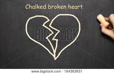 Chalked A Broken Heart. The Inscription On The Blackboard