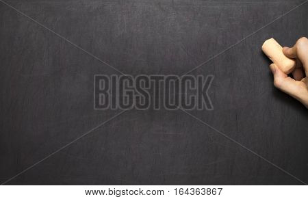 Blank Blackboard / Chalkboard, Hand Writing On Black Chalk Board Holding Chalk