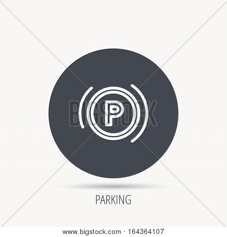 Parking icon. Dashboard sign. Driving zone symbol. Round web button with flat icon. Vector