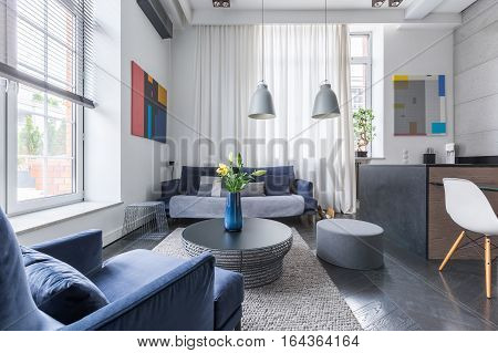 Living Room With Upholstered Sofa