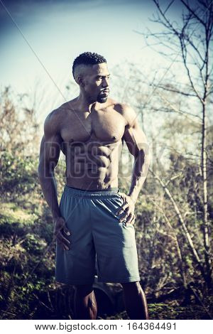 Muscular Shirtless Hunky Black Man Outdoor in City Park. Showing Healthy Muscle Body While Looking away
