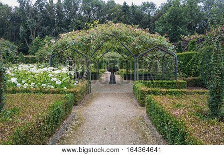 Landgraaf, Netherlands - July 12, 2016: English garden style park Mondo Verde Netherlands.