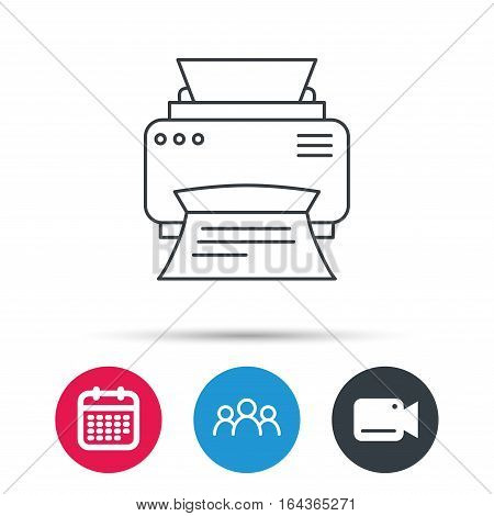 Printer icon. Print document technology sign. Office device symbol. Group of people, video cam and calendar icons. Vector