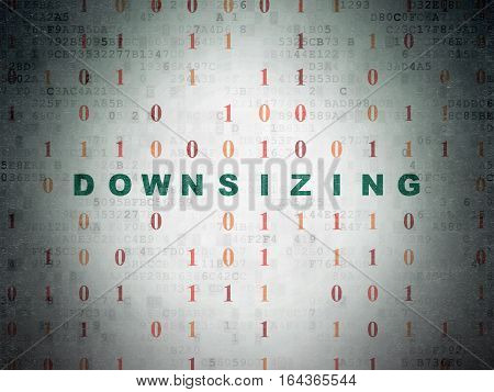 Business concept: Painted green text Downsizing on Digital Data Paper background with Binary Code