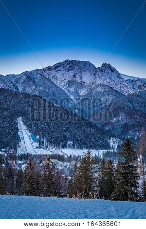 View Of The Winter Ski Jump In Zakopane, Tatra Mountains
