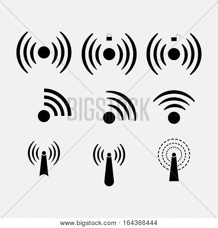 set icons Wi-fi wireless network coverage Wi-fi zone remote access radio communication with the aid of radio waves fully editable vector image