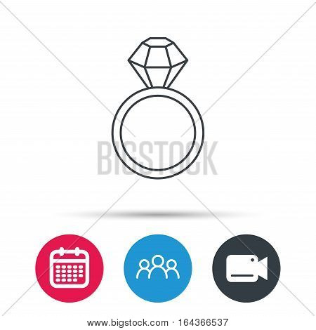 Ring with diamond icon. Jewellery sign. Group of people, video cam and calendar icons. Vector