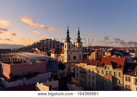 Evening over the attractions of Brno city in Morawia Czech Republic Europe.