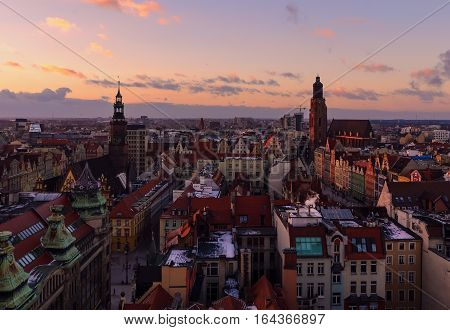 View on the Wroclaw old town at sunset from