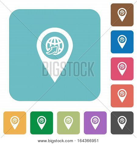 International route GPS map location white flat icons on color rounded square backgrounds