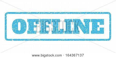 Light Blue rubber seal stamp with Offline text. Vector message inside rounded rectangular shape. Grunge design and dust texture for watermark labels. Horisontal sign on a white background.