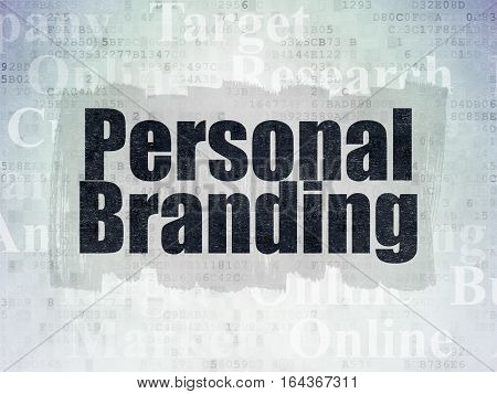 Advertising concept: Painted black text Personal Branding on Digital Data Paper background with   Tag Cloud