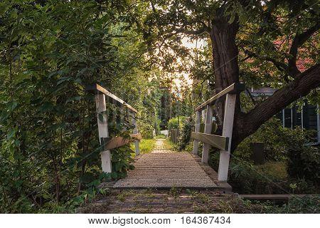 Wooden bridge in Haaldersbroek, a hamlet in Zaanstad Netherlands