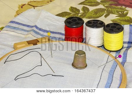 Set for embroidery from the hoop material thread pins and a thimble tailor