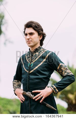 Batumi, Adjara, Georgia - May 26, 2016: Young man in Georgian national dress in celebration of the national holiday - the Independence Day of Georgia.
