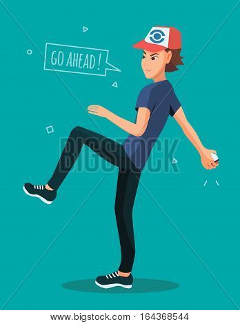 Vector illustration of man with ball in hand