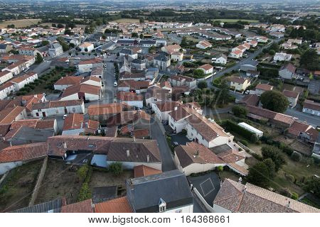 view from the tower of the church of the village of Saint-Michel-Mont-Mercure in France