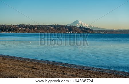 A view of Mount Rainier across the Puget Sound.