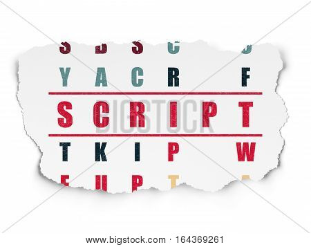 Programming concept: Painted red word Script in solving Crossword Puzzle on Torn Paper background