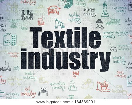 Manufacuring concept: Painted black text Textile Industry on Digital Data Paper background with   Hand Drawn Industry Icons