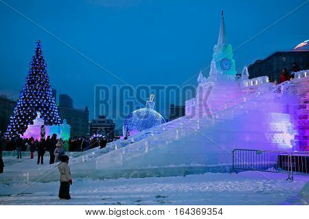 MOSCOW RUSSIA - JANUARY 04 2017: Ice figures shown on Poklonnaya Hill in Moscow. Figures represent different landmarks of Russia. Christmas and New Year decoration.
