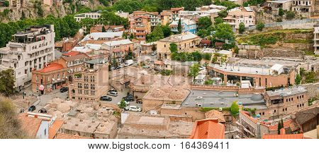 Panorama Of Tbilisi Old Town, Georgia. Historic District. Abanotubani - Bath District - Is The Ancient District Of Tbilisi, Georgia, Known For Its Sulfuric Baths.