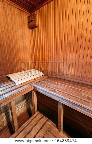 Interior Of Sauna. Wooden Walls And Shelves. Nobody