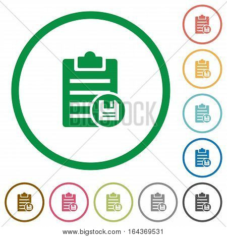 Save note flat color icons in round outlines on white background