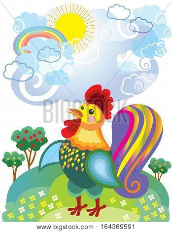 Funny bird isolated on background. Vector illustration.