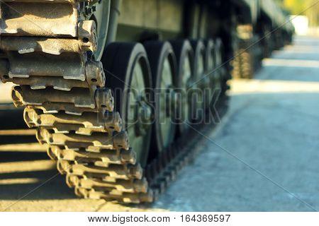 Heavy artillery tank on military at war