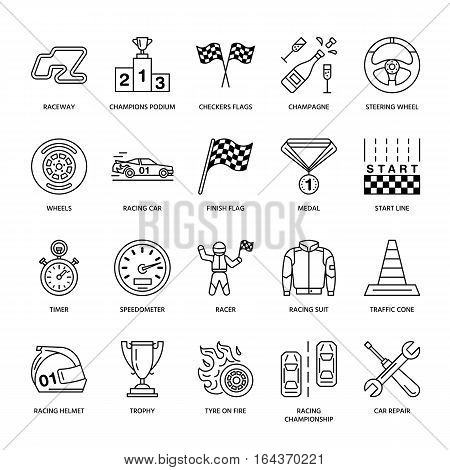 Car racing vector line icons. Speed auto championship signs - track, automobile, racer, helmet, checkers flags, steering wheel. Linear pictogram set with editable stroke for sport event, fan store.
