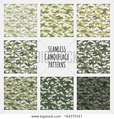 Modern fashion trendy camo pattern set, vector illustration