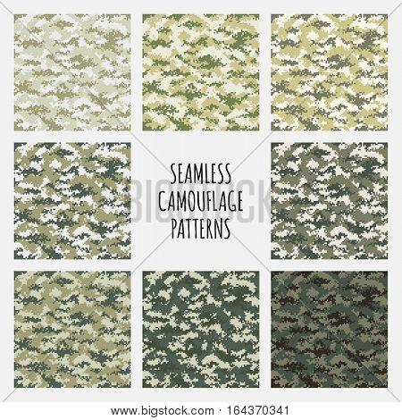 Modern fashion trendy camo pattern set, vector illustration