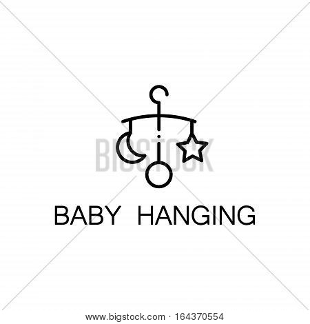 Baby hanging flat icon. Single high quality outline symbol of baby stuff for web design or mobile app. Thin line signs of hanging for design logo, visit card, etc. Outline pictogram of baby hanging