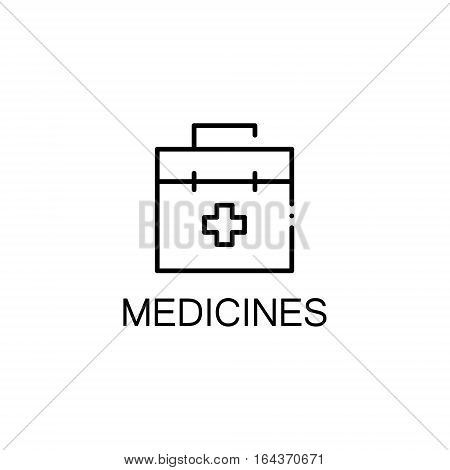 Medicines flat icon. Single high quality outline symbol of baby stuff for web design or mobile app. Thin line signs of medicines for design logo, visit card, etc. Outline pictogram of medicines